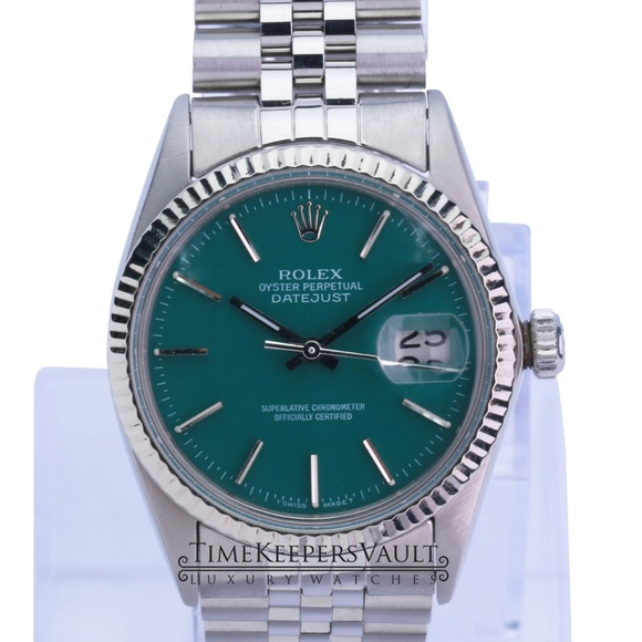 Rolex Mens Datejust Steel Green Dial 36mm